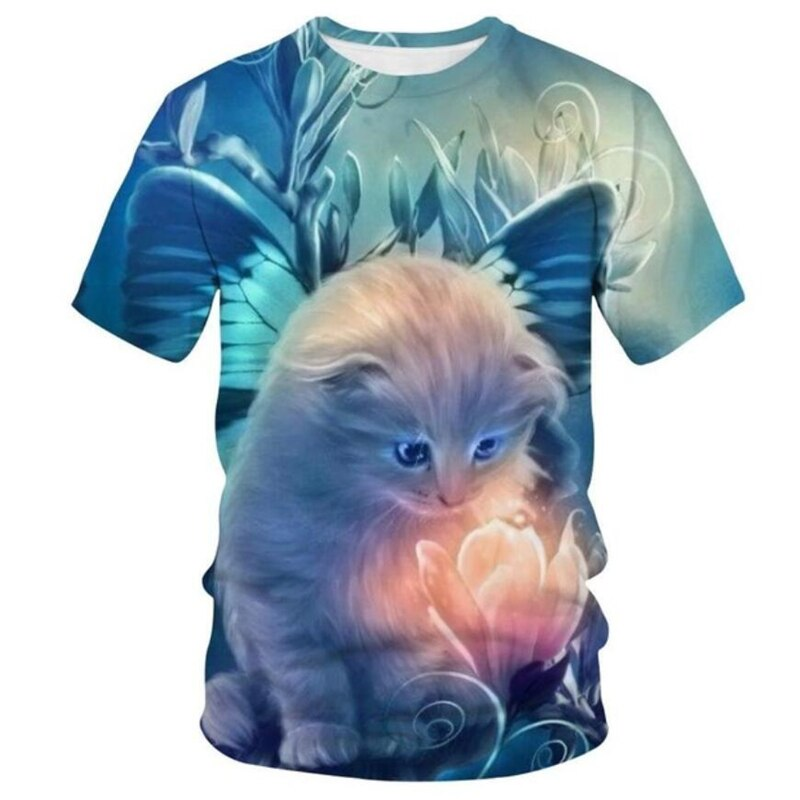 Sell 3D printed animal fox children T shirts summer boys and girls high quality cute color casual short sleeves
