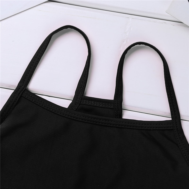 Kids Girls Spaghetti Straps Crop Top for Ballet Dance Gymnastics Tops children Stage Performance Exercise Workout Gym Clothes
