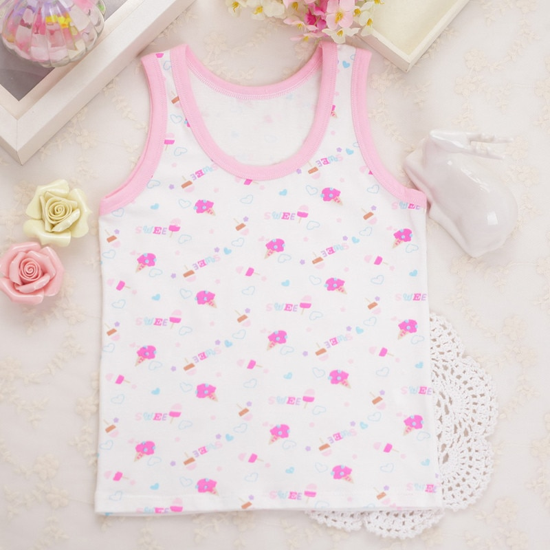 5Pc/mix  Cute Girls Summer Tanks 100% Cotton Vest Children's Fashion Tops  Suit for 2-8years