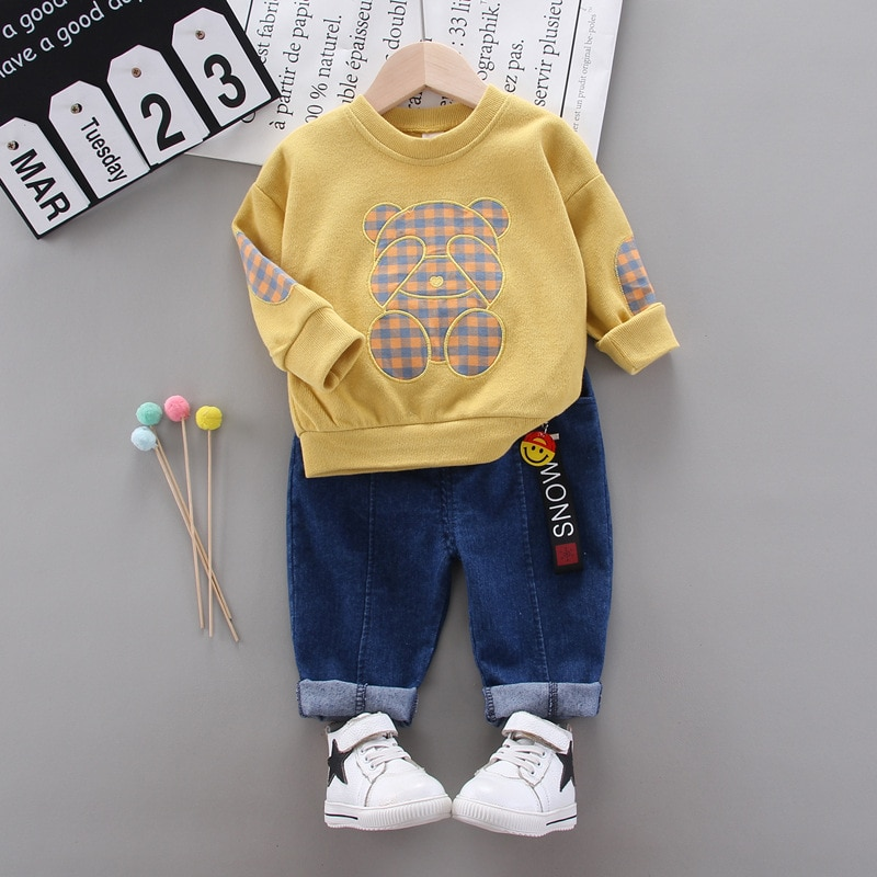 Baby boy clothes Boys and girls plaid bear spring and autumn new sports sweater 2 pcs suit children round neck pullover sweater