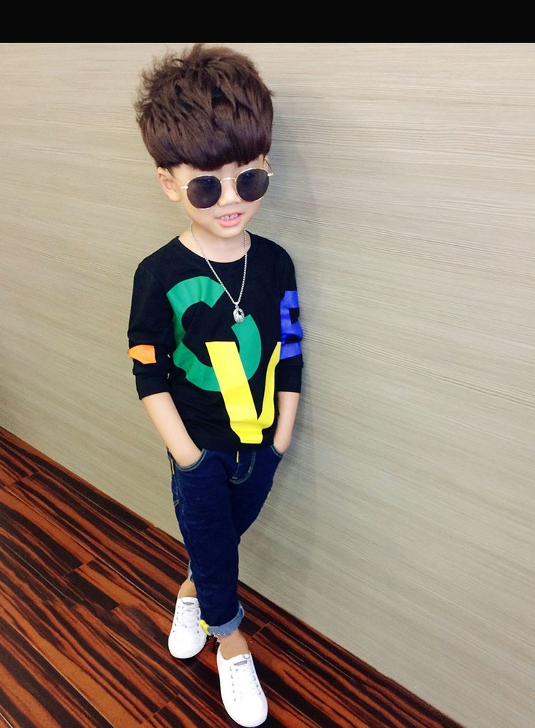 kids clothes new boy long sleeve t-shirt spring and autumn cotton alphabet children's clothes baby boy clothes