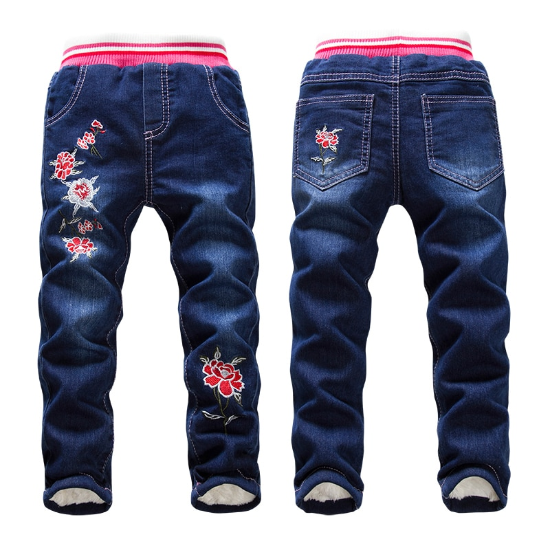 Hot Sale Boys Jeans Casual Child Plus Velvet Pants Winter Kids Jeans Boys 2-14Y Girls Thicking Warm Denim Trousers Teen Clothes