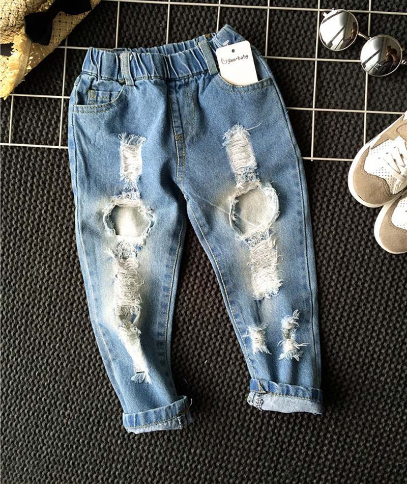 2020 New Children Broken Hole Jeans Baby Boys Girls Pants Casual Trousers Fashion Jeans 2-6yrs Kids Spring Autumn Clothes