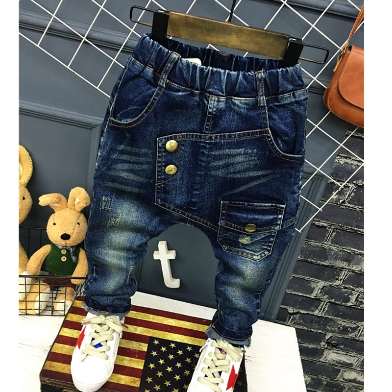1-7Yrs Baby Boys Girls Jeans New Autumn Children Trousers Cool Boys Casual Pants Fashion Children Jeans For Kids Clothes