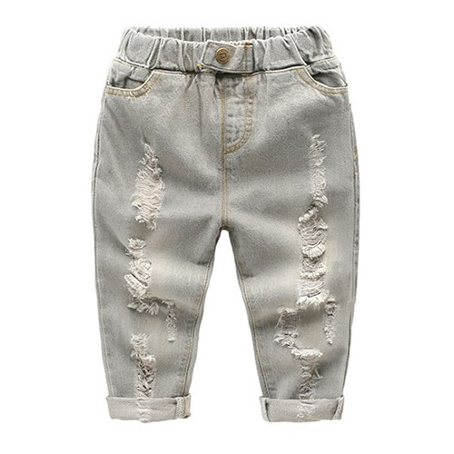 Boys girl hole Jeans pants Excellent quality cotton New casual children Trousers baby toddler Comfortable kids clothes Children