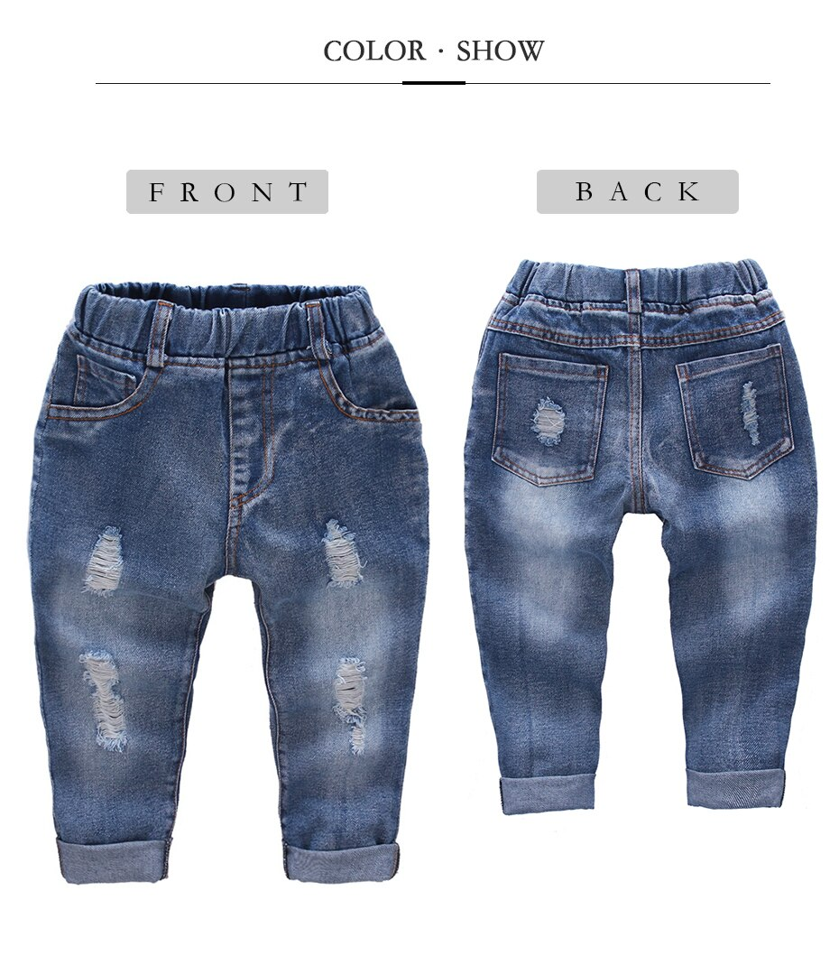 Ripped Jeans Girl Hole Baby Girl Jeans Casual Style Jeans Kids Solid Color Children's Clothing