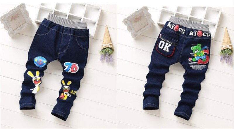 New spring autumn children's clothing baby boys girls jeans kid cartoon trousers pants retail 2-5 years old free shipping