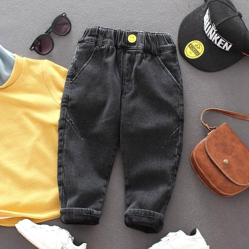 Autumn Winter Toddler Boys Jeans Thicken Casual Warm Jeans for Boys Kids Pants Elastic Waist Children Denim Pants Baby Trousers