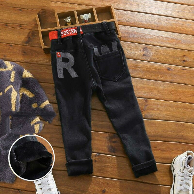 Boys Fleece Pants Autumn Winter Black Jeans Kids Casual Trousers With Belt Boys Teenage Trousers Children Pants For 12 Years