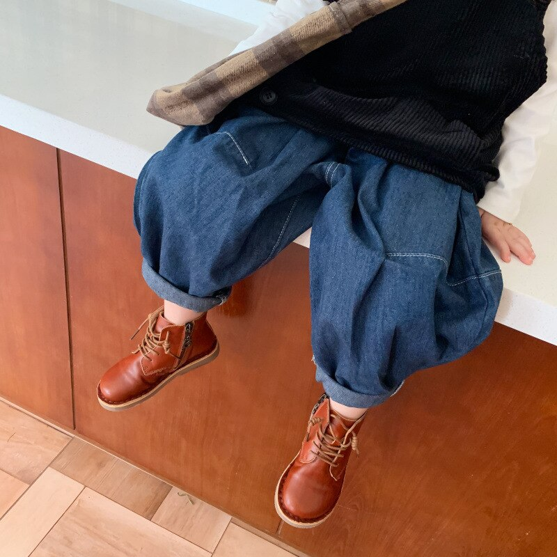 Autumn New Arrival Korean style cotton pure color casual all-match loose jeans long pants for fashion cute baby girls and boys