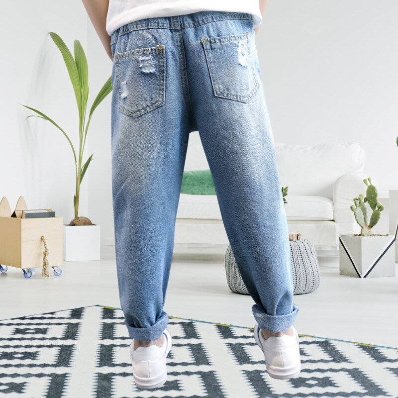 Fashionable Boys Clothes Hole Jeans Children's Clothes 2019 New Elastic Waist Light Blue Jeans For Boys High Quality