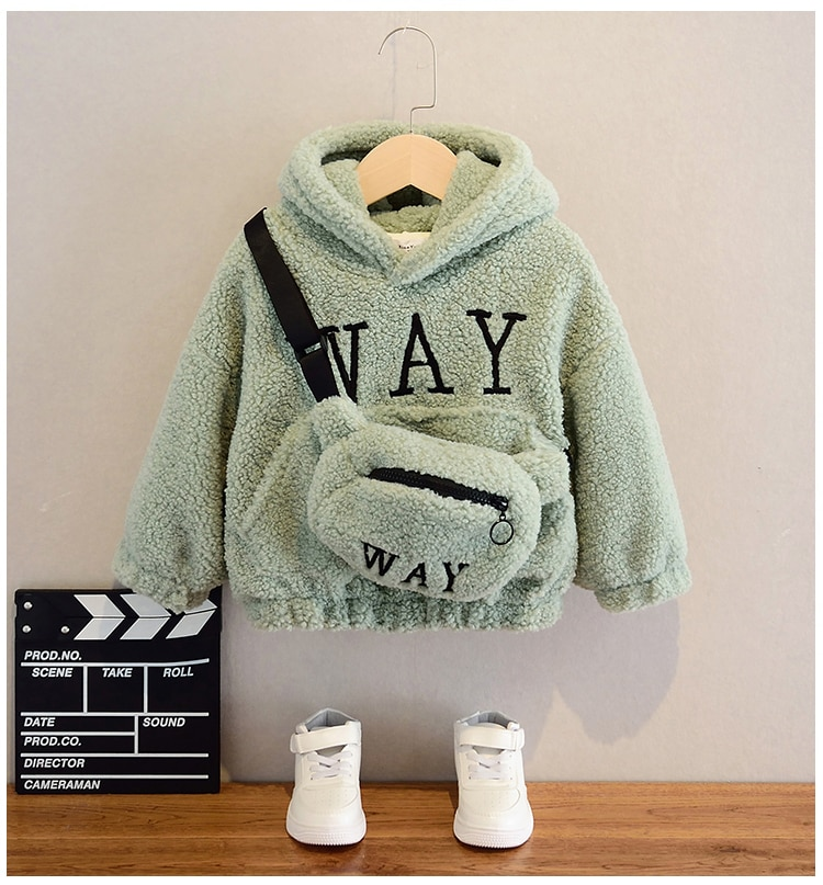 VFOCHI Boy Girl Sweatshirts with Bag Winter Wool Thick Children Hooded Long Sleeves Sweatshirt Unisex Warm Boy Girls Sweatshirts