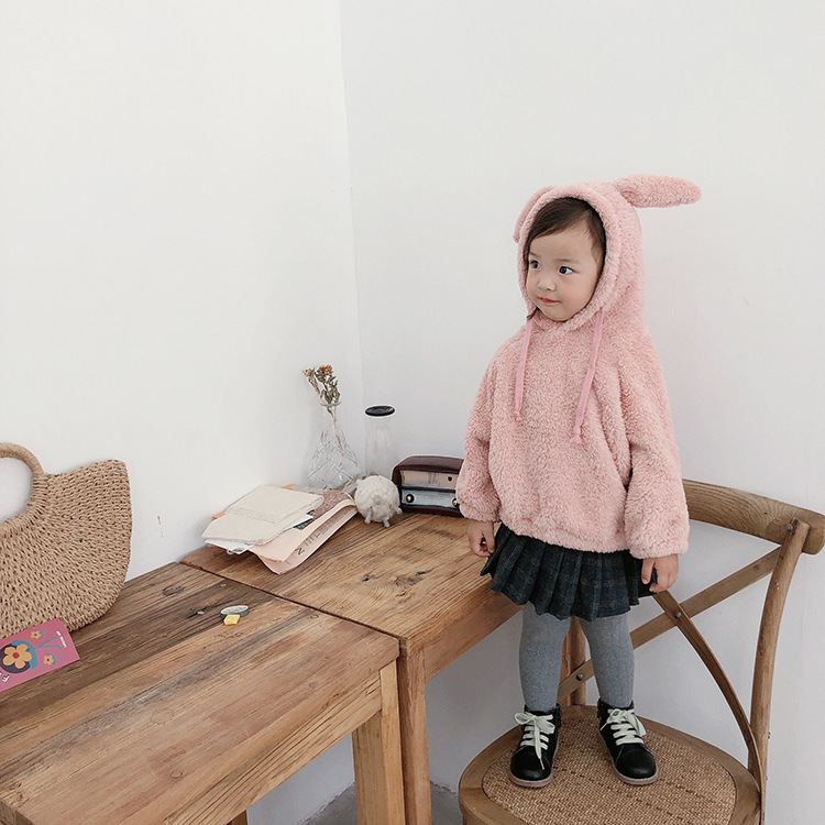 Winter Autumn Baby Girls Tops Flannel Hooded Sweatshirt Cartoon Rabbit Ear Hooded Casual Baby Girls Hoody Infant Toddler Clothes