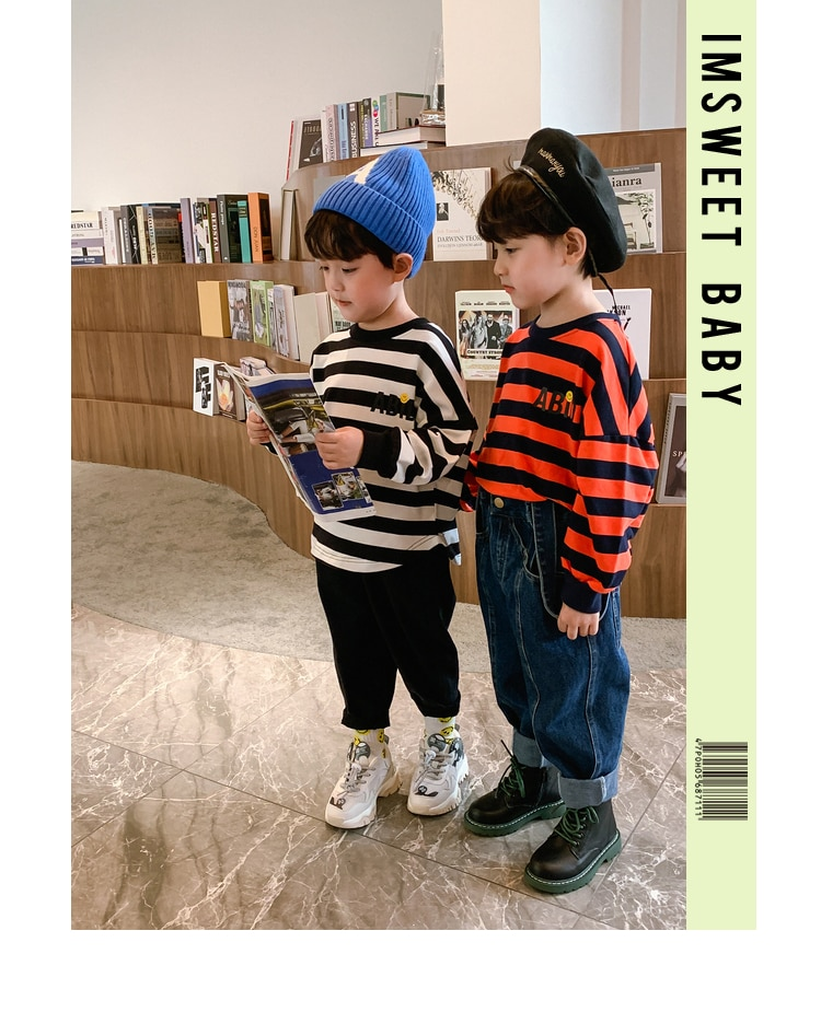Long Sleeve for Children Striped Sweater Boy 2020 New Fashion Spring and Autumn Big Boy Korean Style Baby Boy's Shirt