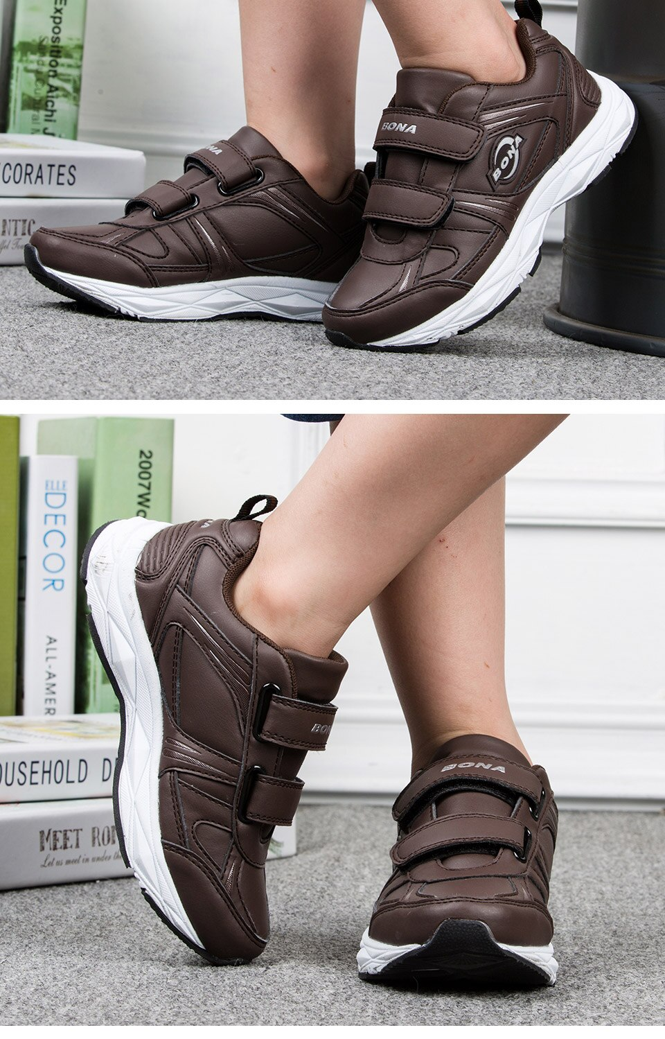 BONA New Popular Style Children Casual Shoes Hook & Loop Boys Sneakers Outdoor Jogging Shoes Light Soft Free Shipping