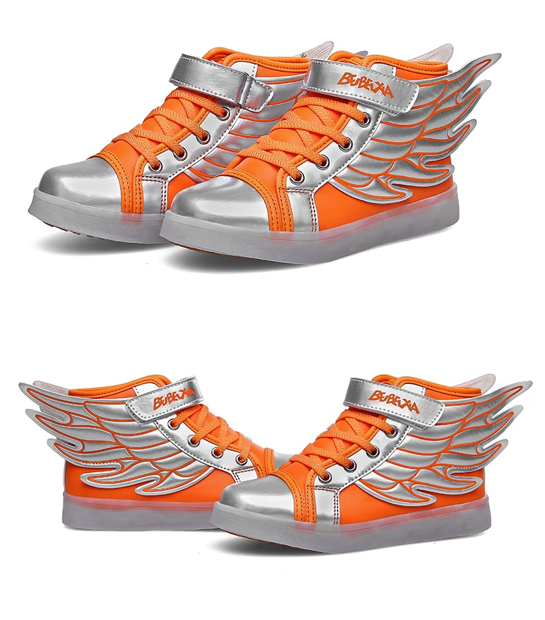 Jawaykids Children Glowing Sneakers USB Rechargeable Angel's Wings Luminous Shoes for Boys,Girls LED Light Running Shoes Kids