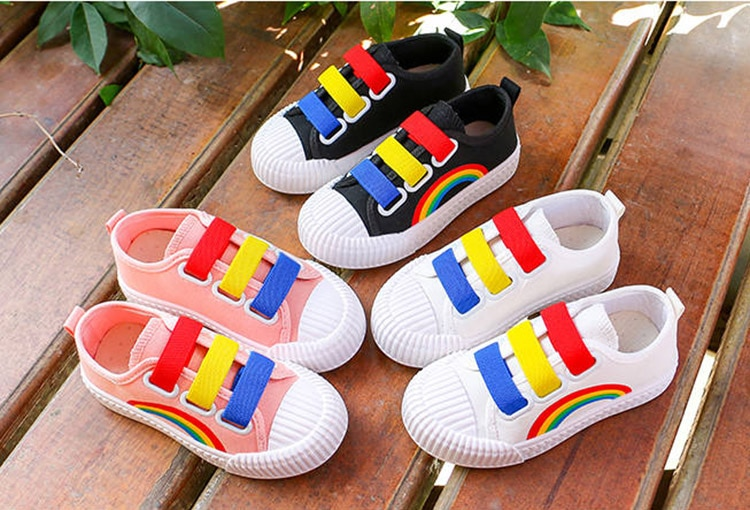 VFOCHI New Girl Canvas Shoes for Kids Fashion Rainbow Print Soft Boy Casual Shoes Children Shoes Unisex Boys Girls Canvas Shoes