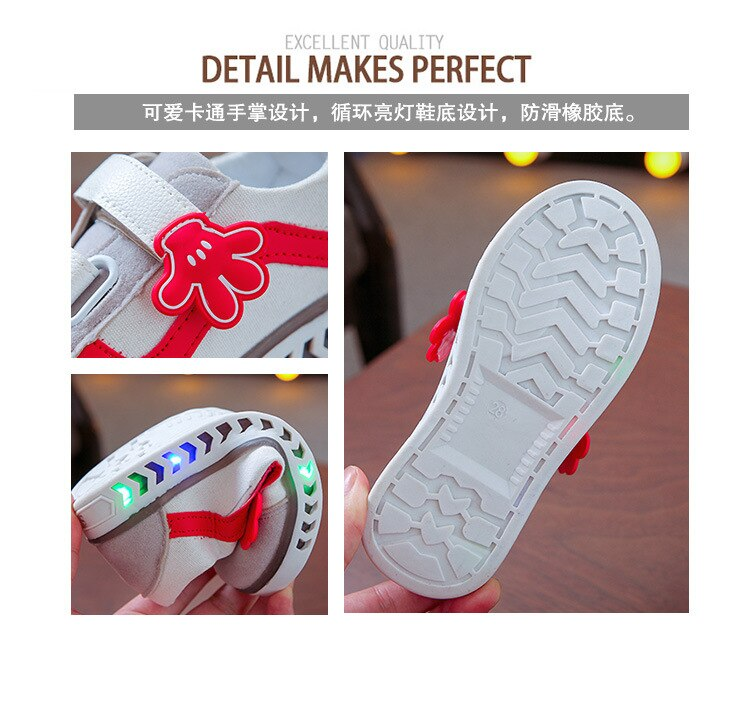 BAMILONG Children Led Shoes Boys Lighted Sneakers Toddler Girls Glowing Shoes Baby Kids Casual Sneakers with Luminous Sole S188