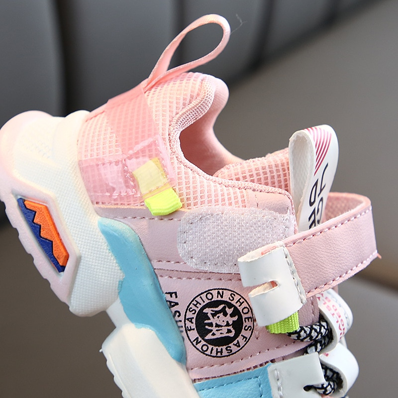 2020 Black/White/Pink Shoes Kids Boys Gilrs Sneakers Fashion Ankle Strape Baby Toddler Infant Shoes Patchwork Shoes Child C12282