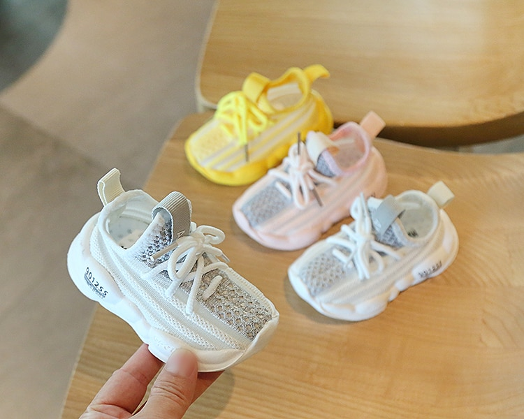 12-15.5cm Baby Mesh Summer Shoes Knitting Breathable Sneakers Pink Yellow Beige Slip-on Casual Shoes For 0-3Years Toddler Boys