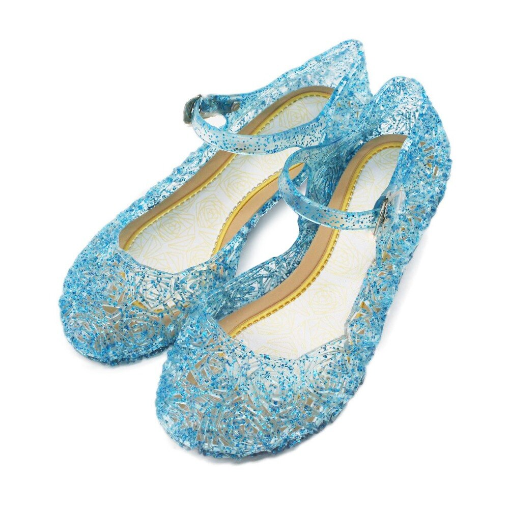 Kids Girls Sandals Children Soft Leather Crystal Shoes Baby Girl Birthday Party Cosplay Princess Sofia Ana Elza Shoes