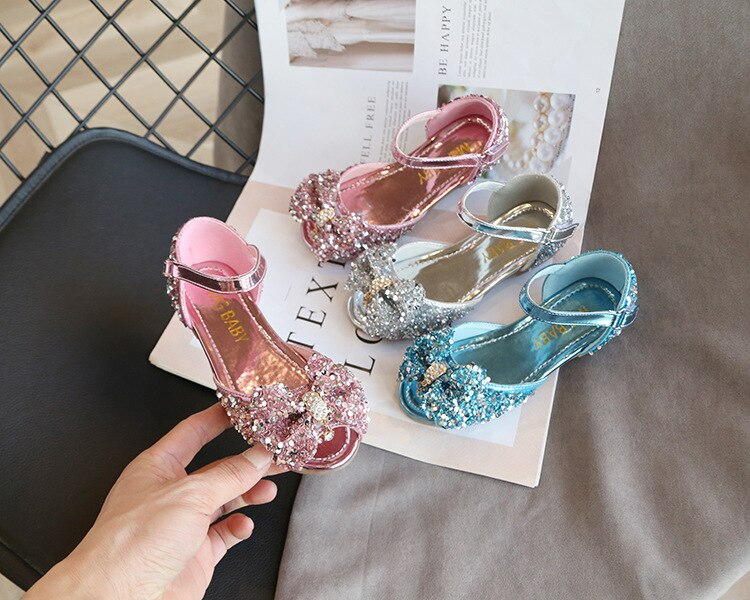 ULKNN 2020 Girls Sandals Red Net For Children Explosion Models Princess Shoes Korean Version Of open-toed Shoes Diamond Bow Show