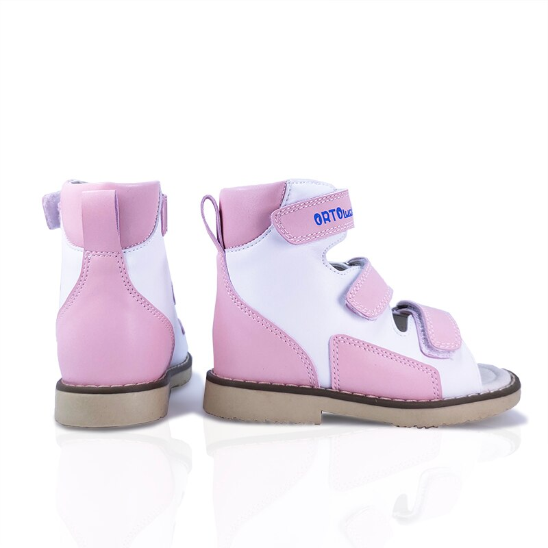 Little Girls Arch Support Orthopedic Genuine Leather Sandals Lovely Summer Corrective Princess Party Pink with White Shoes