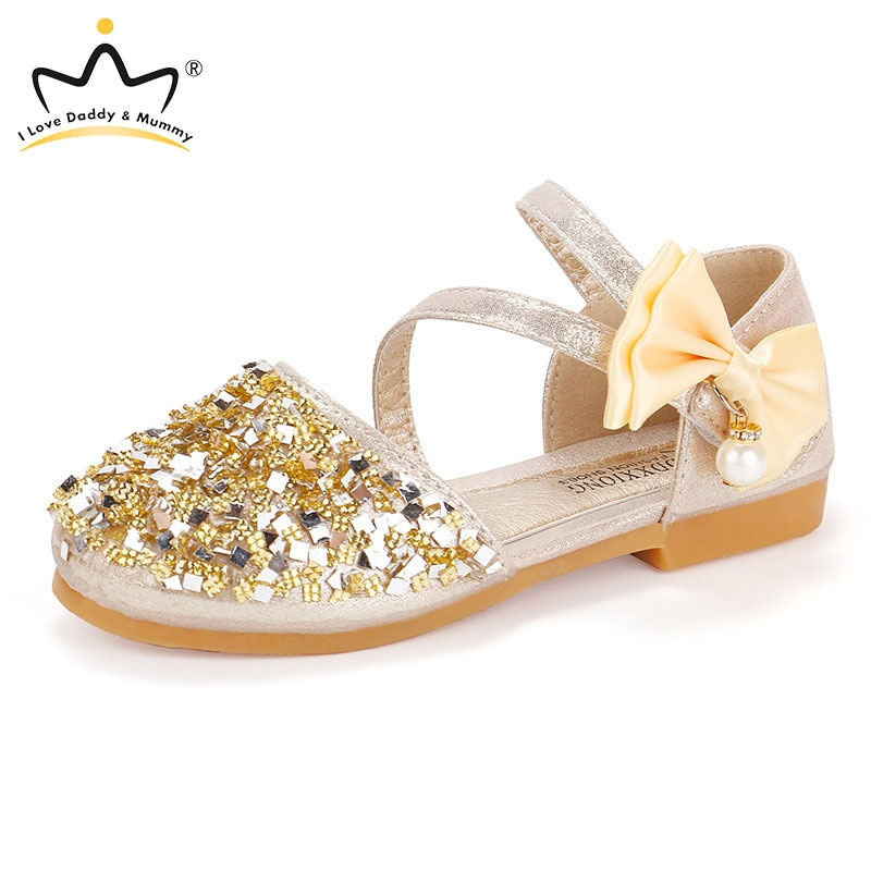 Summer New Rhinestone Bows Girls Shoes Lovely Pearls Princess Sandals Big Bowknot Party Shoes Children Kids Shoes Sandalias