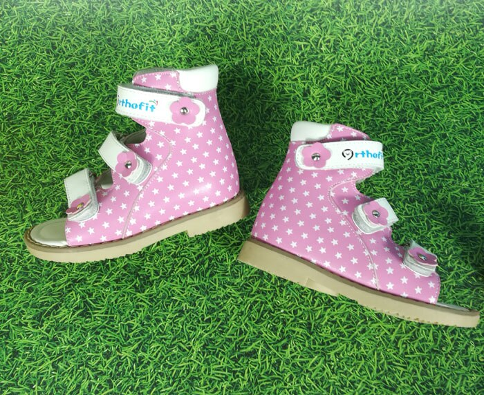 Children school leather shoes girls pink printed star sandals hook and loop fasten arch orthopedic shoes for kids toddler babies
