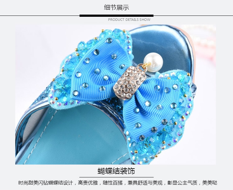 Girls Party shoes Princess Shoes Leather Glitter Crystals Rhinestones Knot Kids Shoes Elsa sneaker children Christmas gift
