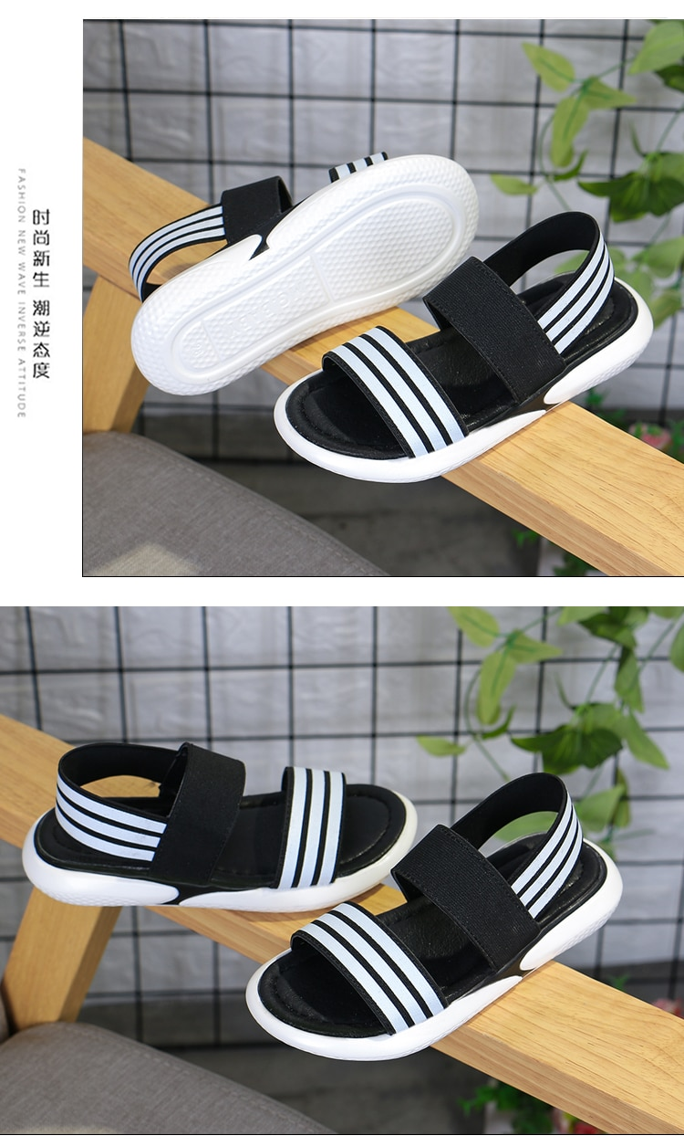 2020 new boys and girls summer casual striped soft-soled shoes children's elastic band open toe fashion sandals pink black26-36
