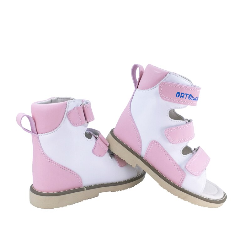 Kids Girls Arch Support Orthopedic Pink with White Corrective Leather Sandals Lovely Summer Princess Party Shoes Sandals