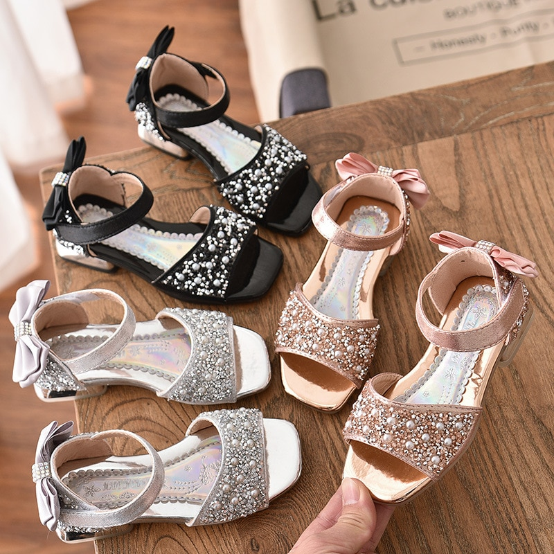 Bear Leader Girls Shoes 2020 New Summer Kids Footwear Fashion Bow Sequined Single Shoes Children Elegant Sandals Cute Flat Shoes