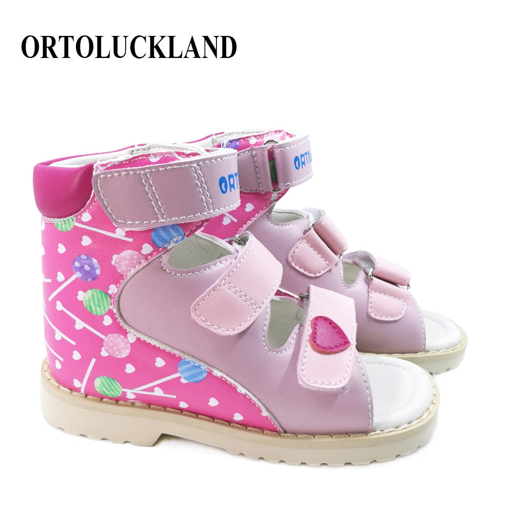 Children Girls Cute Sandals with Graffiti Embroidery Arch Support Orthopedic Shoes Fashion Leather for Toddler Kids Girl Sandals