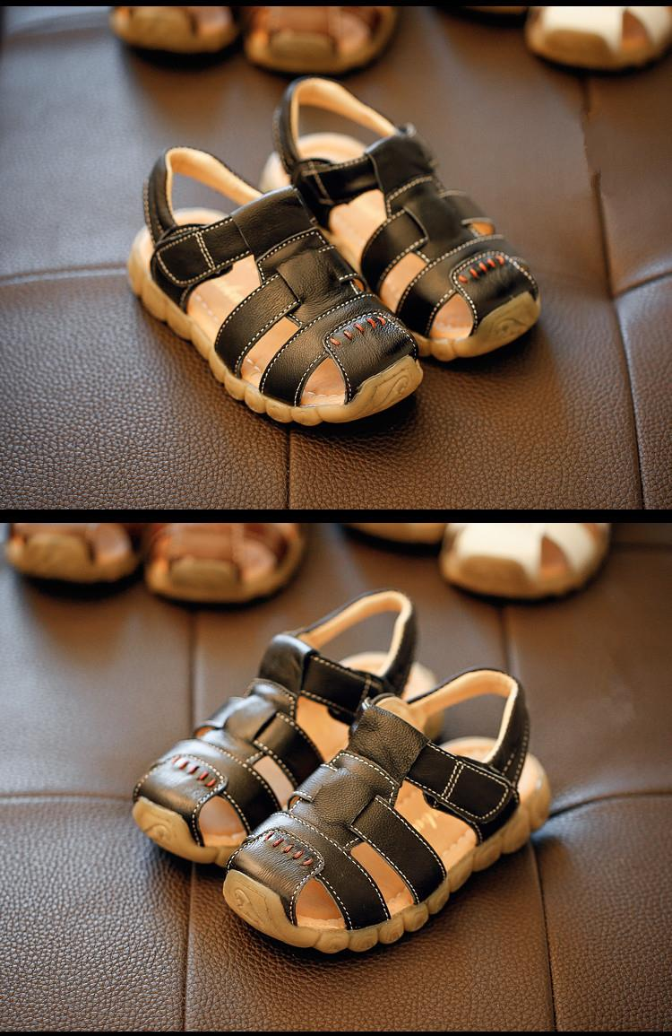 Children Sandals 2016 Summer New Arrival Leather Pure Color Fashion Girls Shoes Boys Beach Sandals Size 26-30 free shipping