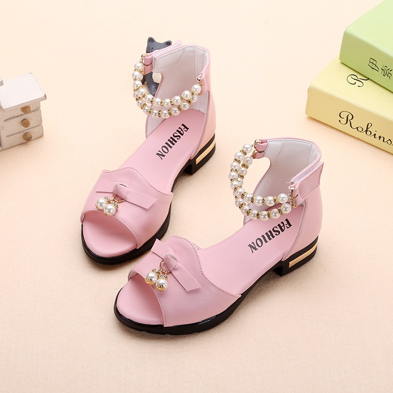 Fashion Bead Bow Kids Sandal For Girl Summer High Heels Sandals For Children Beach Shoe 4 5 6 7 8 9 10 11 12 Year Old Pink White