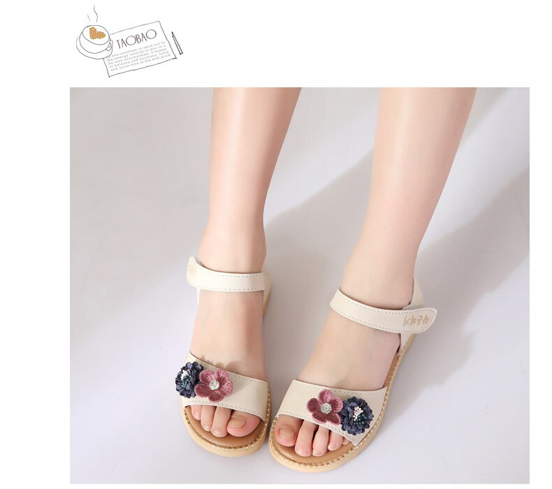 Flower Sandals for Girls 2020 Chilren's Shoes Girl Princess Dresses Party Sandal New Cute Kids Summer Beach Shoes Crystal B03131