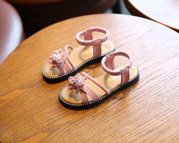 Girls Sandals Kids Gladiator Sandals With Flowers Sweet Princess Soft Children Summer Beach Shoes Floral Elastic Band 27-37 Hot
