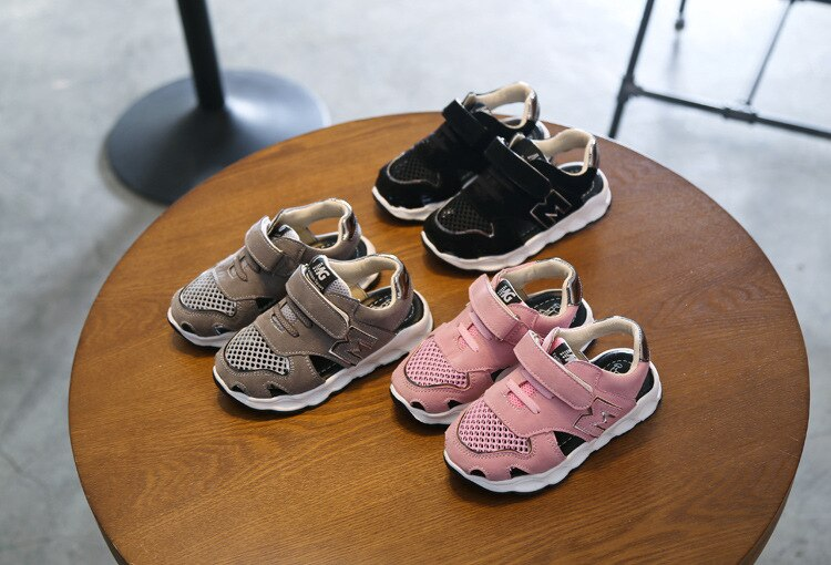 Kids Sandals Boys Girls Shoes Beach Shoes Children's Half Sandals Air Mesh Breathable Cut-outs Casual Sandals For Toddlers 21-30
