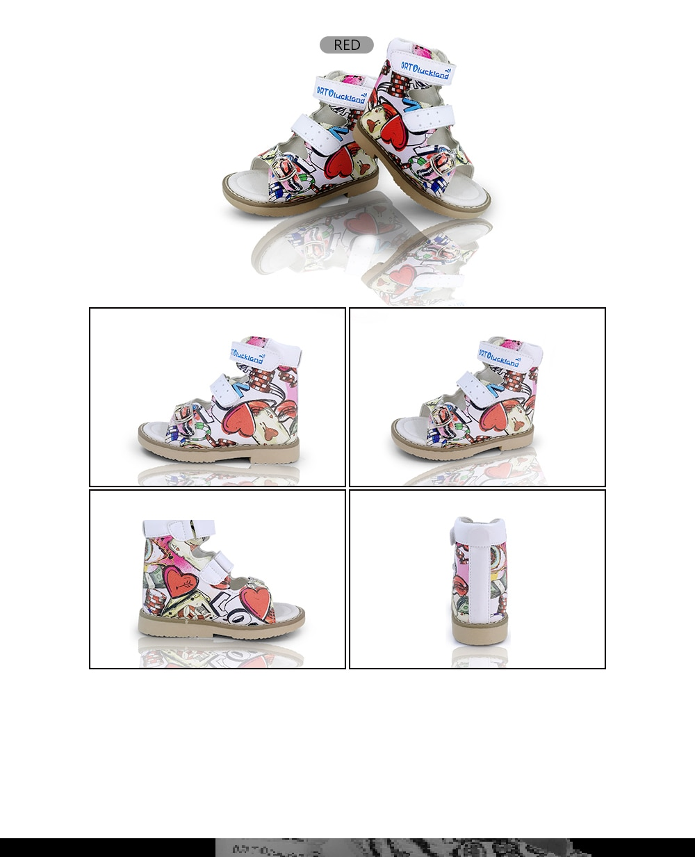 Ortoluckland Baby Leather Shoes Orthopedic For Children Sandals Boys Pattern Graffiti Girl Dance Shoes Platform for kids 10 year