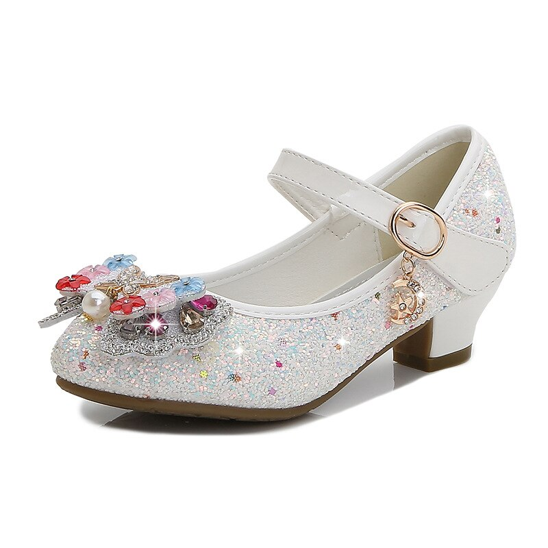 Christmas Girls Shoes Sequins Children Leather Sandals Halloween Child High Heels Girls Princess Sandals Party Shoes 26-38