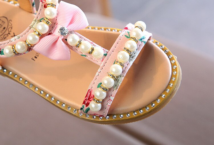 Kids Baby Girls Sandals Bowknot Pearl Crystal Roman Sandals Princess Shoes Children Sandals For Girls Beach Sandal Dropshipping