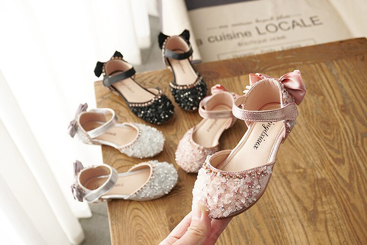 2020 New Arrival Baby Girls Summer Princess Shoes with Bow Kids Koeran Design Crystal Shoes