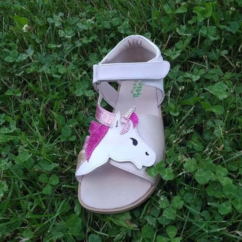 TipsieToes Top Brand Barefoot Genuine Leather  Girl  Younth Sandals New Zigzig sole