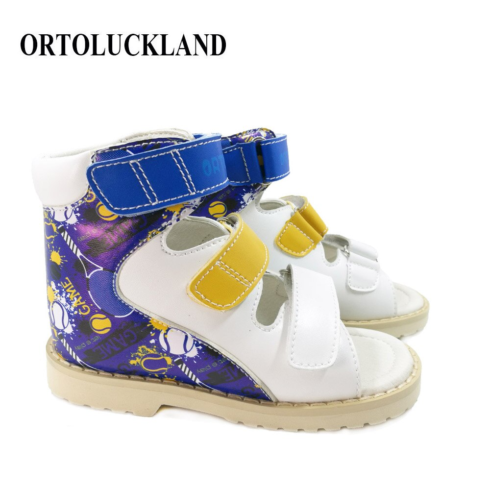 Children Orthopedic Sandals Blue Boys Cute Graffiti Arch Support Flatfoot Summer Pink Leather Casual Shoes For Toddler Girls