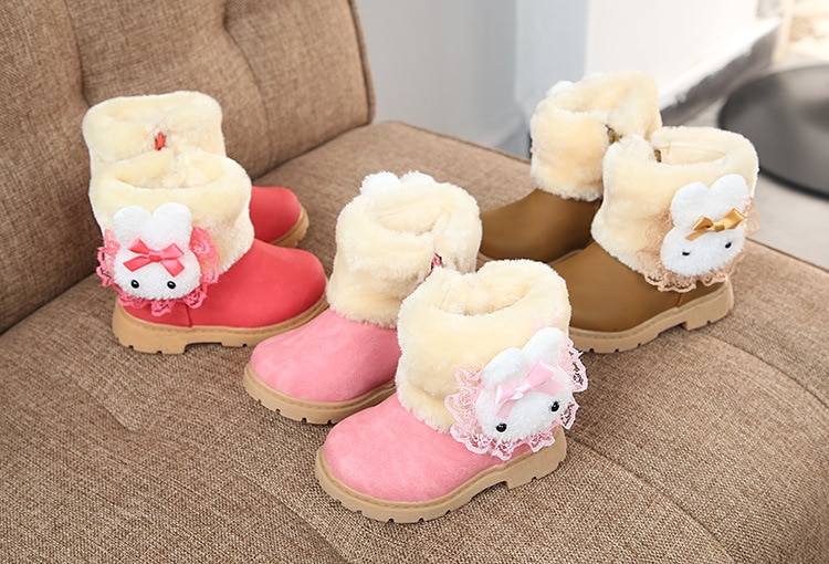 2020 Winter Girls Boots Warm Cotton With Cartoon Rabbit Lace Kids Boots Fashion Snow Boots Children Kids Shoes For Toddler Girl