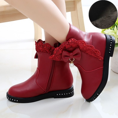 3-12 Years Fashion Bow Lace Big Kids Winter Books Shoe Little Girl  Leather Boots Black 2020 New Princess Children'S Snow Boots