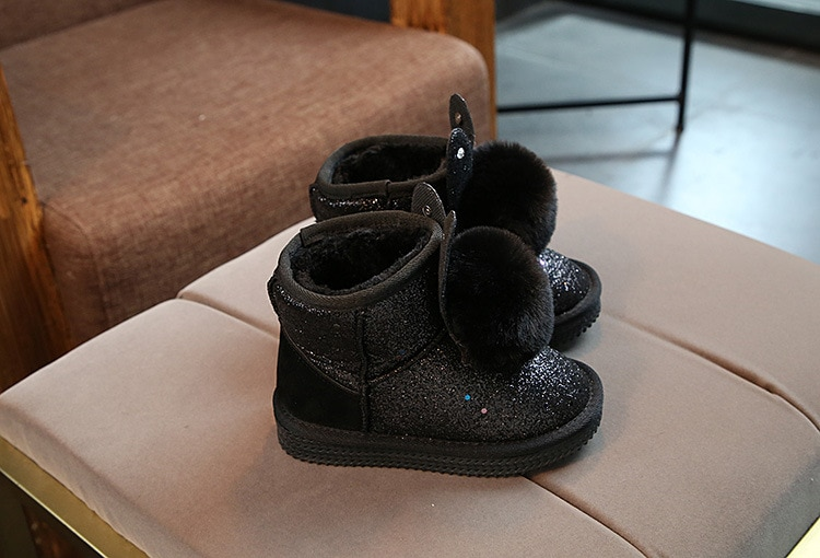 Children's Boots For Girls Thick Cotton Kids Snow Boots Cute Sweet Warm Sequined Fabric With Rabbit Ear Soft Fluffy Fur Ball New