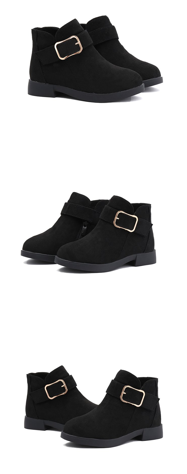 JGSHOWKITO Girls Winter Boots Classic Buckle Kids Ankle Boots Children Martin Boots Flock With Rubber Sole Short Soft Fashion
