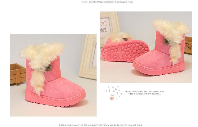 2020 Warm Kids Snow Boots for Children New Toddler Winter Princess Child Shoes Non-slip Flat Round Toe Boots for Girls Kids Shoe